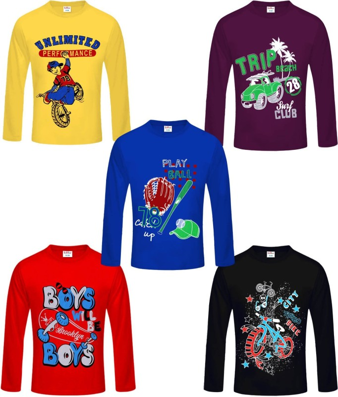 FabTag  - kiddeo Boys Printed Cotton Blend T Shirt(Multicolor, Pack of 5)