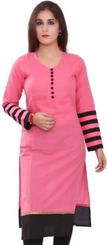 The Style Story Women Solid Straight Kurta(Pink)