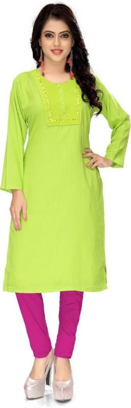 Venisa Festive & Party Embellished Women's Kurti(Green)