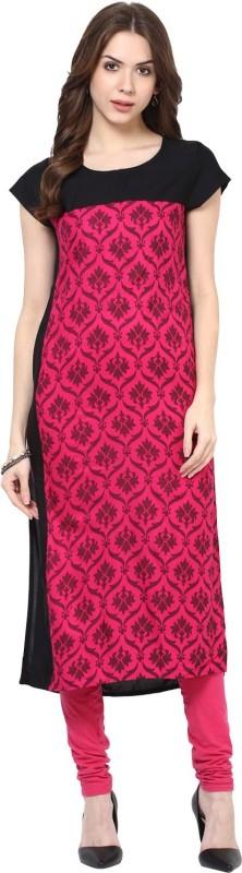 FabTag - Krapal Casual Printed Women Kurti(Pink, Black)