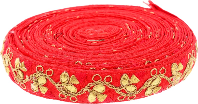 Fabric and Lace LC1001 Red color Machine Made floral Embroidery Lace Reel(Pack of 1)