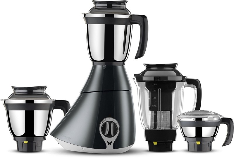 Butterfly Present Matchless 750 W with Stylish & Shockproof ABS body, 4 Stainless steel Jars and 3-speed control knob with whip 750 Juicer Mixer Grinder(Black, 4 Jars)