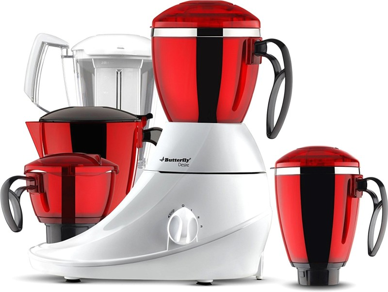 Butterfly Present Desire 1 HP with 4 Jars 750 W Unbreakable polycarbonate outer shell and SS inner shell jars 750 Juicer Mixer Grinder(Red:White, 4 Jars)