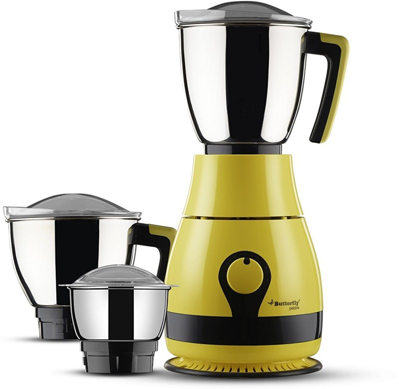 Butterfly Present Pebble plus 600 W with Stylish & Shockproof ABS body, 3 Stainless steel Jars and 3-speed control knob with whip 600 W Juicer Mixer Grinder(Yellow, 3 Jars)