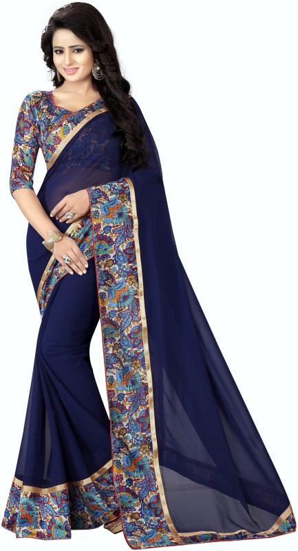 FabTag - Anugrah Textile Printed Bollywood Georgette, Chiffon, Cotton, Crepe Saree(Multicolor)