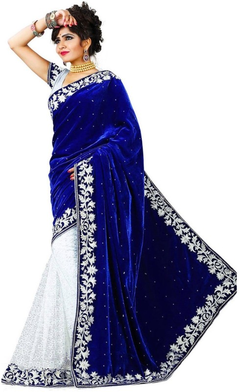 FabTag - Anugrah Textile Embroidered Kalamkari Georgette, Velvet, Chiffon, Net Saree(Blue)