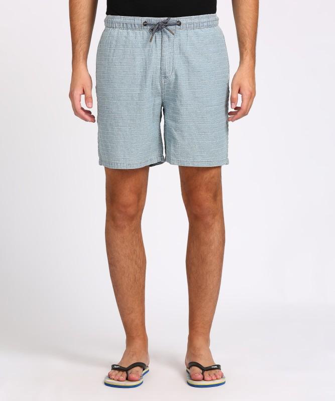 Quiksilver Striped Men's Light Blue Basic Shorts