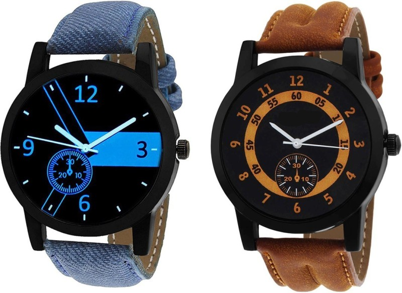 3King Mens Blue & Brown Leather Analog Watch - For Men