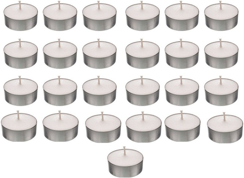 Kala Decorators Smokeless Tea Light Candle(Pack of 25 Pcs ) (Paraffin Wax )for Wedding,Festival,Party Candle(White, Pack of 25)
