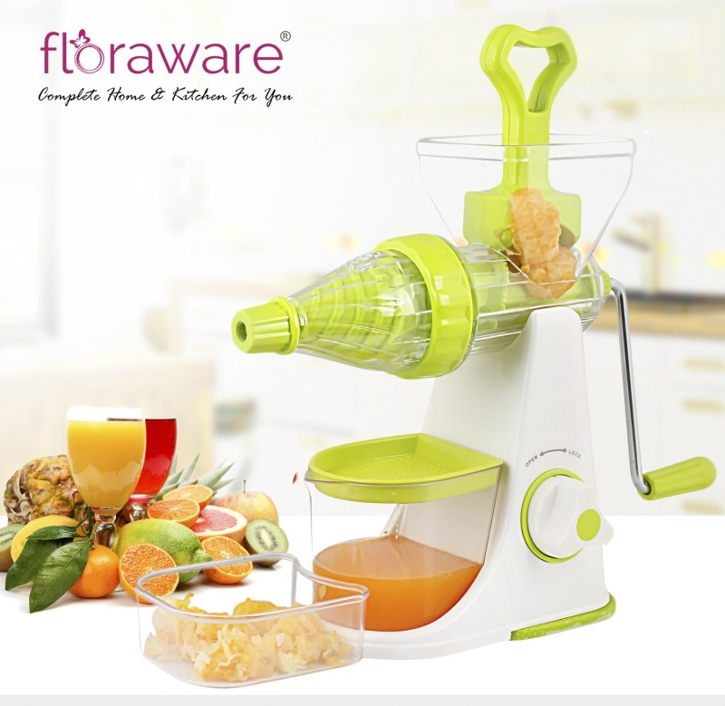Floraware Green Colour - Better Performance - with Waste Collector - Advance Fruit & Vegetable Plastic Hand Juicer(Green)