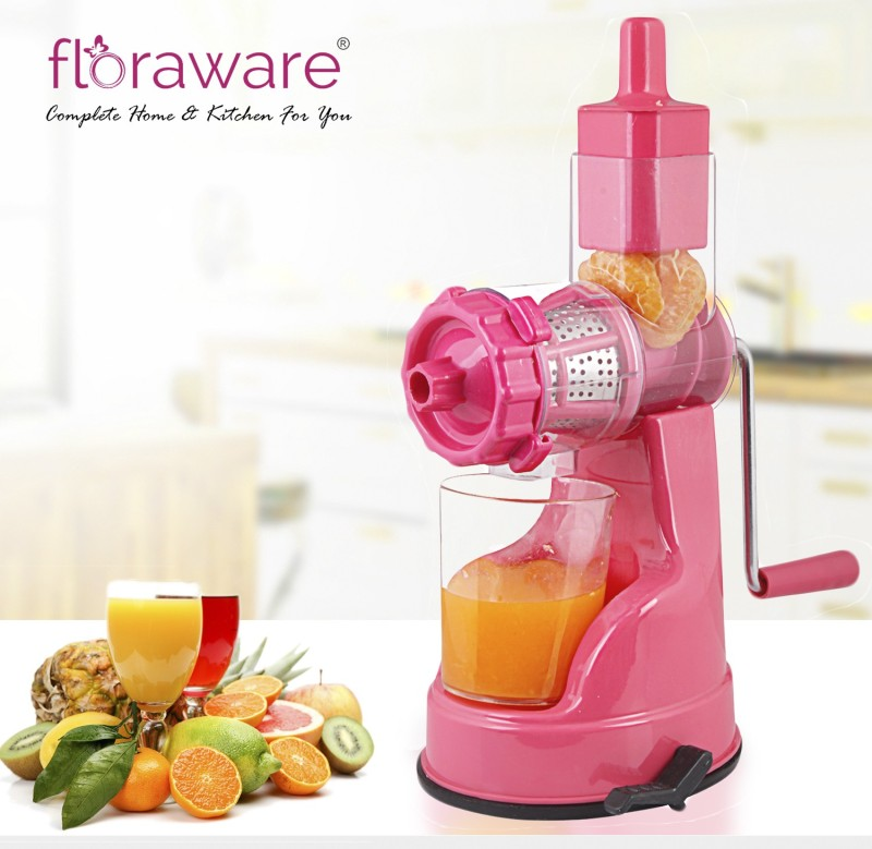 Floraware with Suction Base Fruit & Vegetable Plastic Hand Juicer(Pink Pack of 1)