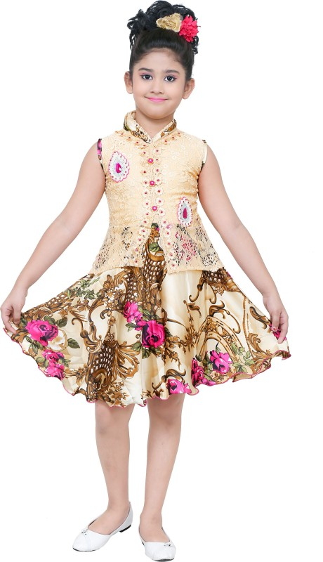 stylokids Girls Midi/Knee Length Party Dress(Multicolor, Sleeveless)