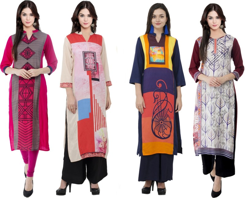 Sparsh Festive & Party Printed Women's Kurti(Pack of 4, Multicolor)
