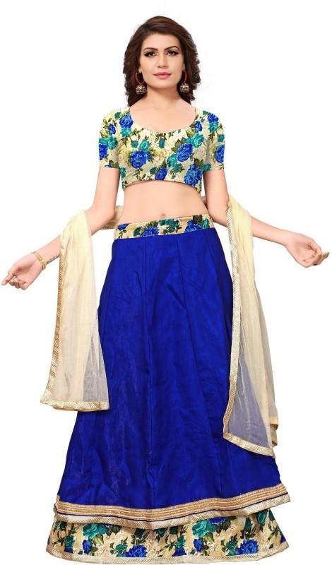 Active Floral Print Lehenga, Choli and Dupatta Set(Blue)