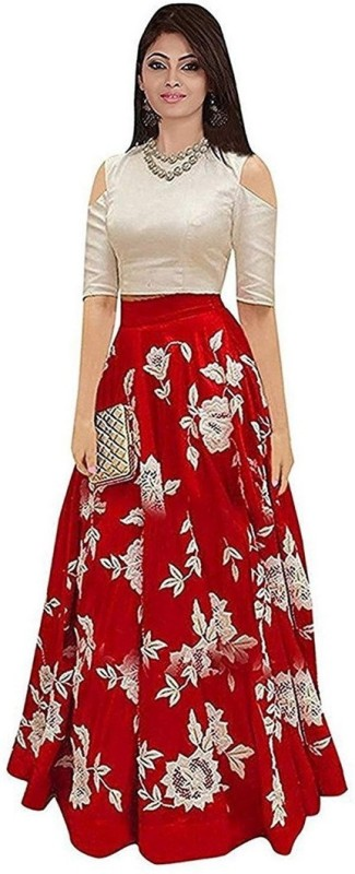 Madhav design Embroidered Semi Stitched Lehenga Choli(Red, White)