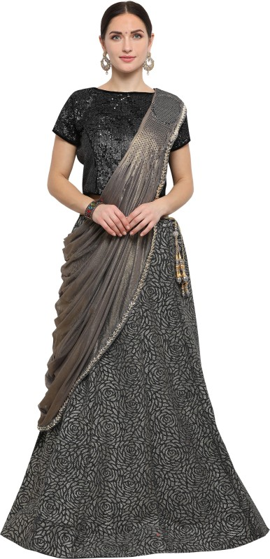 Mahotsav Embellished Semi Stitched Lehenga, Choli and Dupatta Set(Black, Grey)
