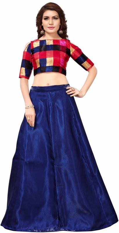 Aika Solid Semi Stitched Lehenga Choli(Blue)