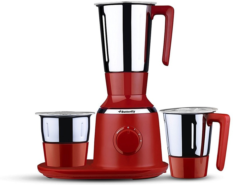 Butterfly Present Spectra with 3 Jars 750 W Red color Unbreakable polycarbonate outer shell and SS inner shell jars 750 Juicer Mixer Grinder(Red, 3 Jars)