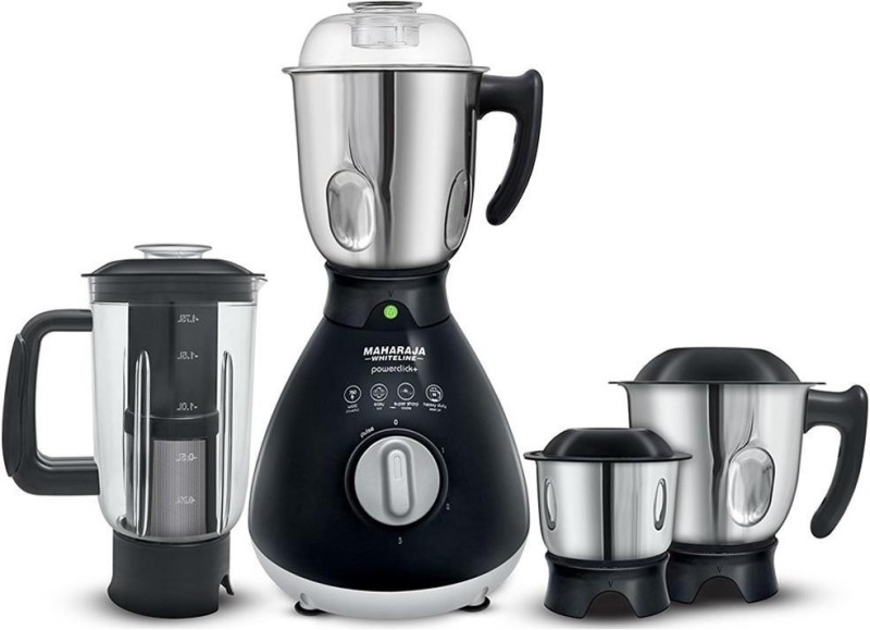 Maharaja Whiteline Powerclick plus MX-170 750 W Juicer Mixer Grinder(Black, 4 Jars)