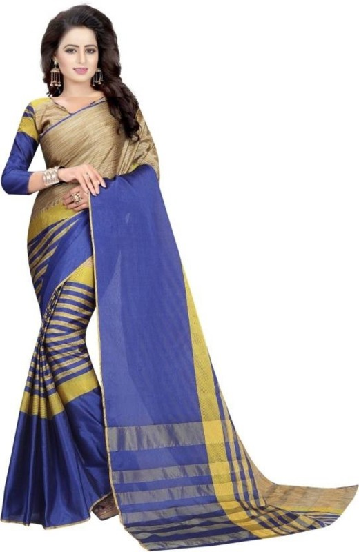 FabTag - FastColors Striped Bhagalpuri Art Silk Saree(Blue, Gold)