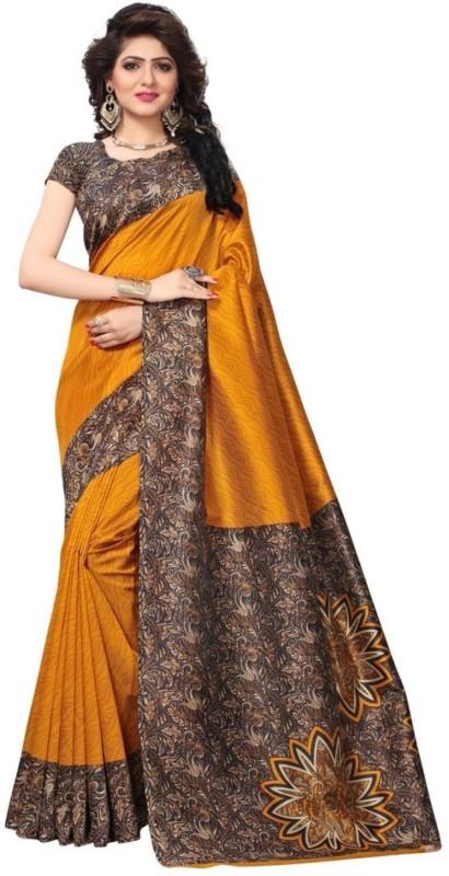 FabTag - FastColors Printed Bhagalpuri Art Silk Saree(Mustard)