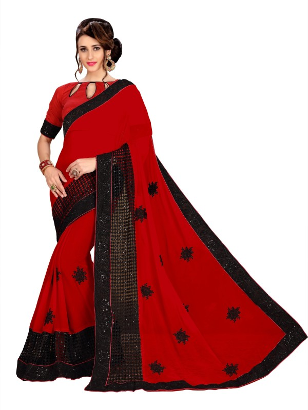FabTag - Aashvi Creation Solid, Embroidered, Self Design Bollywood Georgette, Net Saree(Red,...