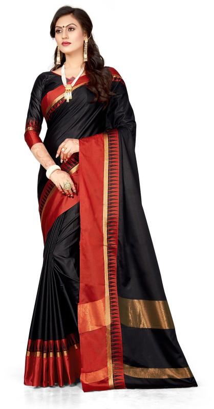 FabTag - BAPS Striped Bollywood Cotton Saree(Multicolor)