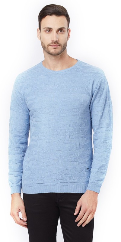 Killer Solid Round Neck Casual Men's Blue Sweater