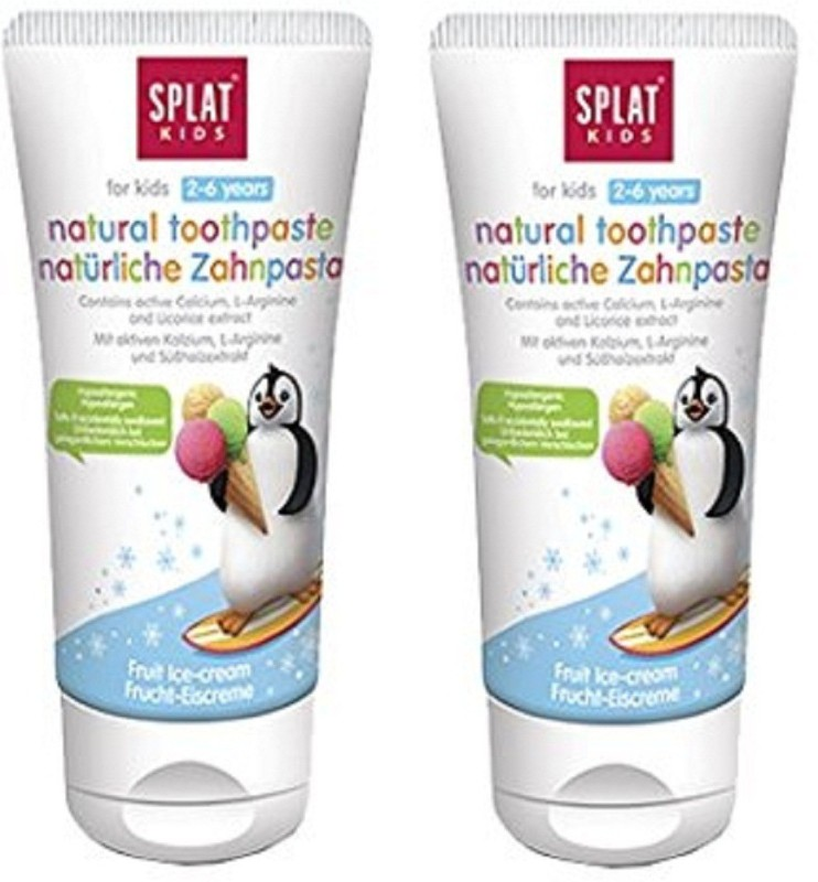 SPLAT Kids Toothpaste (2-6 Years) 98% Natural Free from SLS/SLES, Mint, Fluorides, Parabens, Petrochemicals (Fruit Ice-cream, Pack of 2) Toothpaste(100 g, Pack of 2)