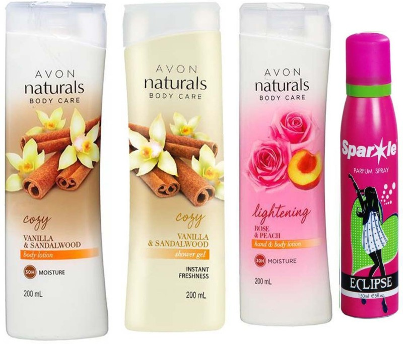 Avon Anew vanilla and sandalwood shower gel 200 ml & one vanilla and sandalwood hand and body lotion 200 ml & one Naturals Body Care Rose & Peach hand & body lotion (200 ml) With one sparkle perfume spray 150 ml(Set of 4)