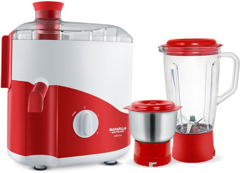 Maharaja Whiteline ODACIO 450 W Juicer Mixer Grinder(RED & WHITE, 2 Jars)