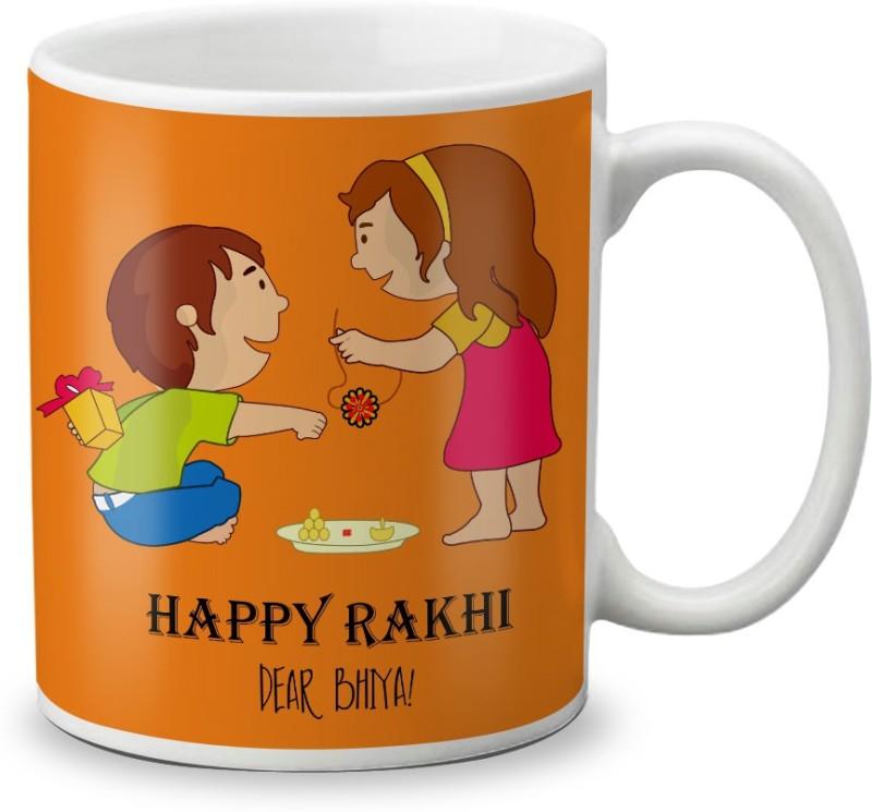 LOF Happy Rakhi Dear Bhaiya Special Gifts For Brother Rakshabandhan 325ml White Coffee Ceramic Mug(325 ml)