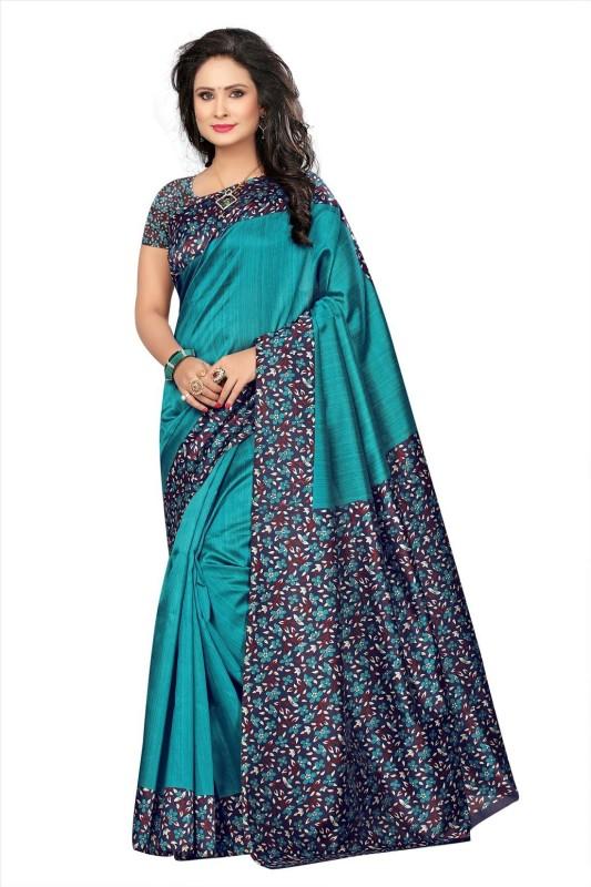 Active Printed Kalamkari Art Silk Saree(Light Blue)