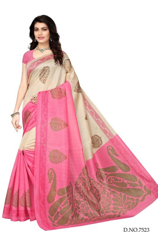 Active Printed Bhagalpuri Art Silk Saree(Beige)