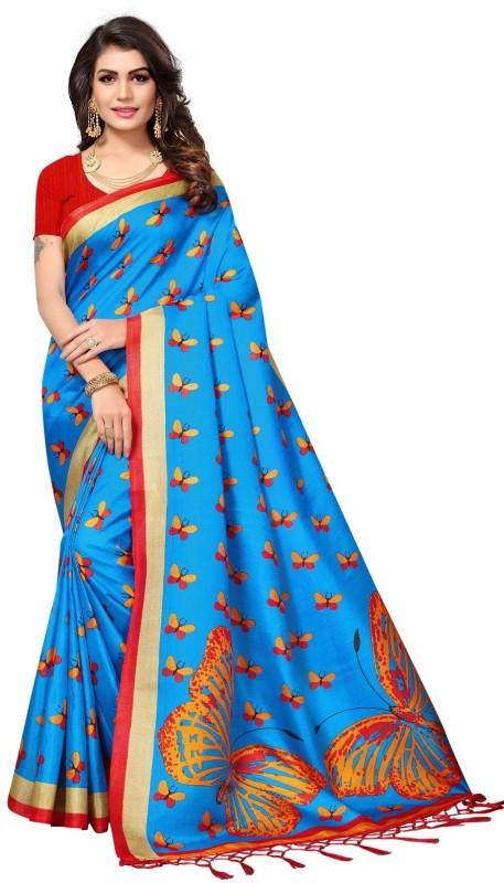 Active Printed Daily Wear Khadi Saree(Blue)
