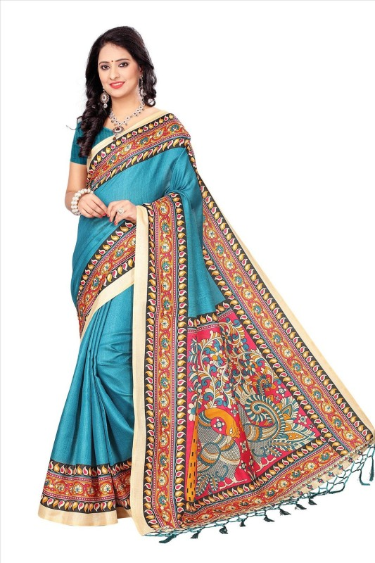 Active Floral Print Daily Wear Khadi Saree(Multicolor)