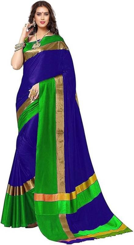HITESH ENTERPRISE Solid Fashion Cotton Silk Saree(Blue, Green)