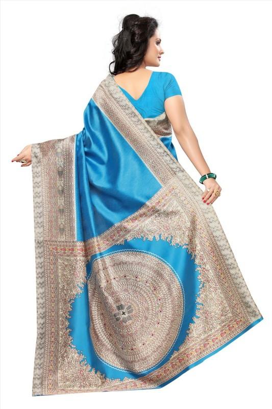 Active Printed Mysore Art Silk Saree(Blue)
