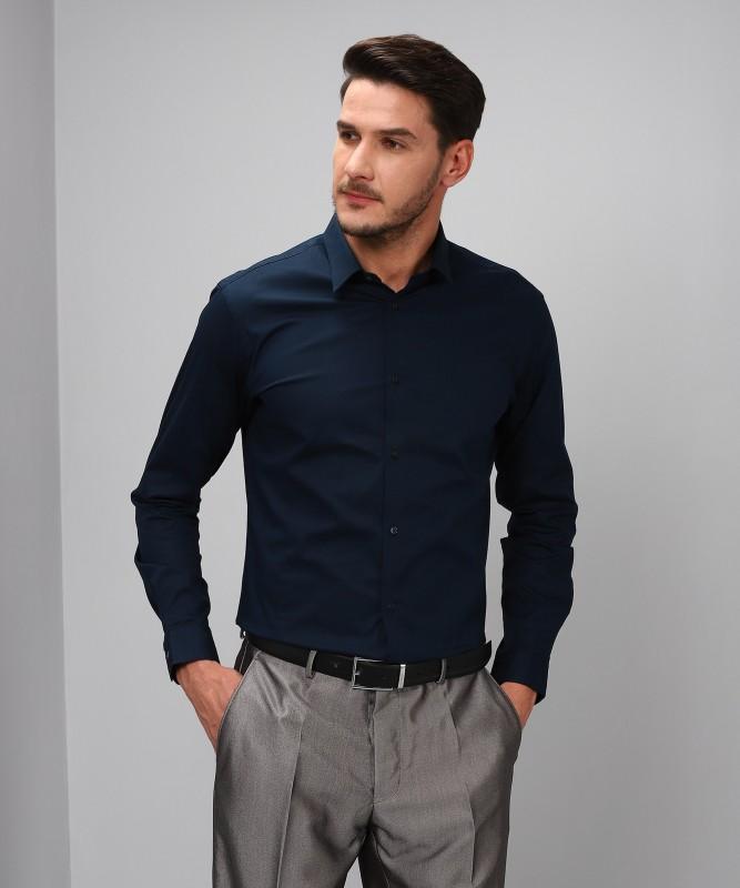 Arrow New York Men's Solid Formal Blue Shirt