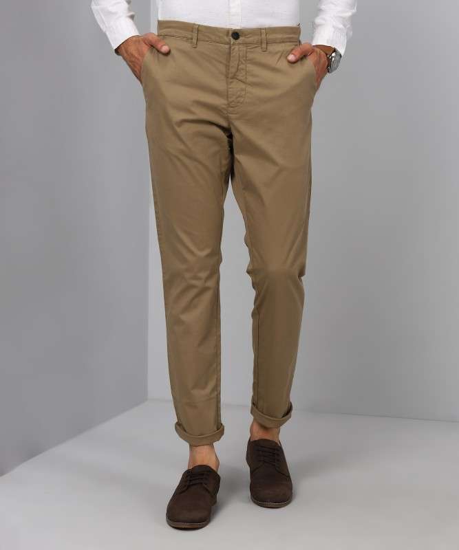 Jack & Jones Solid Mens Beige Track Pants