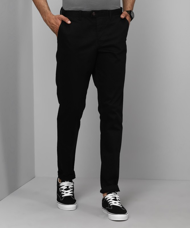 Jack & Jones Solid Mens Black Track Pants