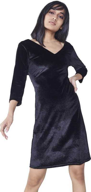 AND Womens A-line Black Dress