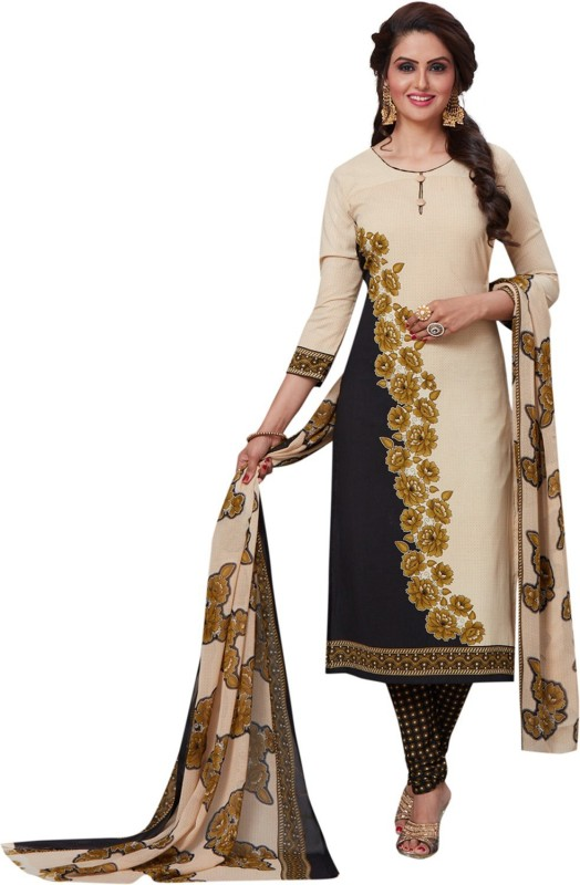 Fashion Valley Crepe Printed, Floral Print Salwar Suit Dupatta Material(Un-stitched)