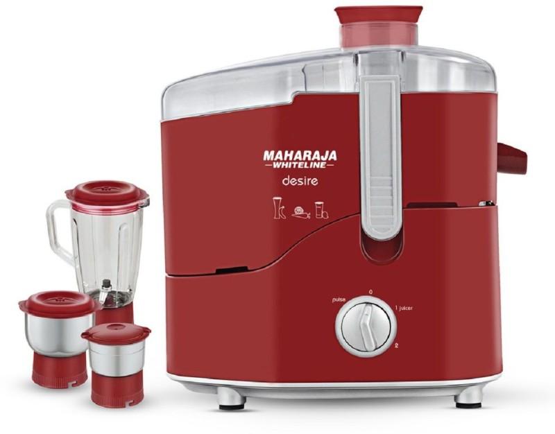 Maharaja Whiteline Desire JX-210 550 Juicer Mixer Grinder(Maroon, 3 Jars)