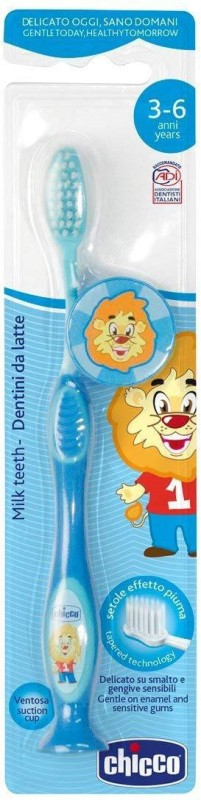 Chicco Toothbrush for milk teeth. Suitable for children aged 3 to 6 years with a cute little animal. Ultra Soft Toothbrush