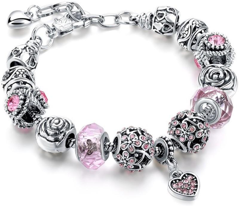 Sansar India Alloy Crystal Silver Charm Bracelet