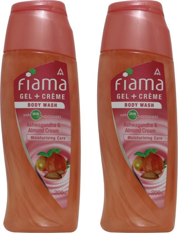 FIAMA Ashwagandha Almond Cream (200ml) Shower Gel(400 ml, Pack of 2)