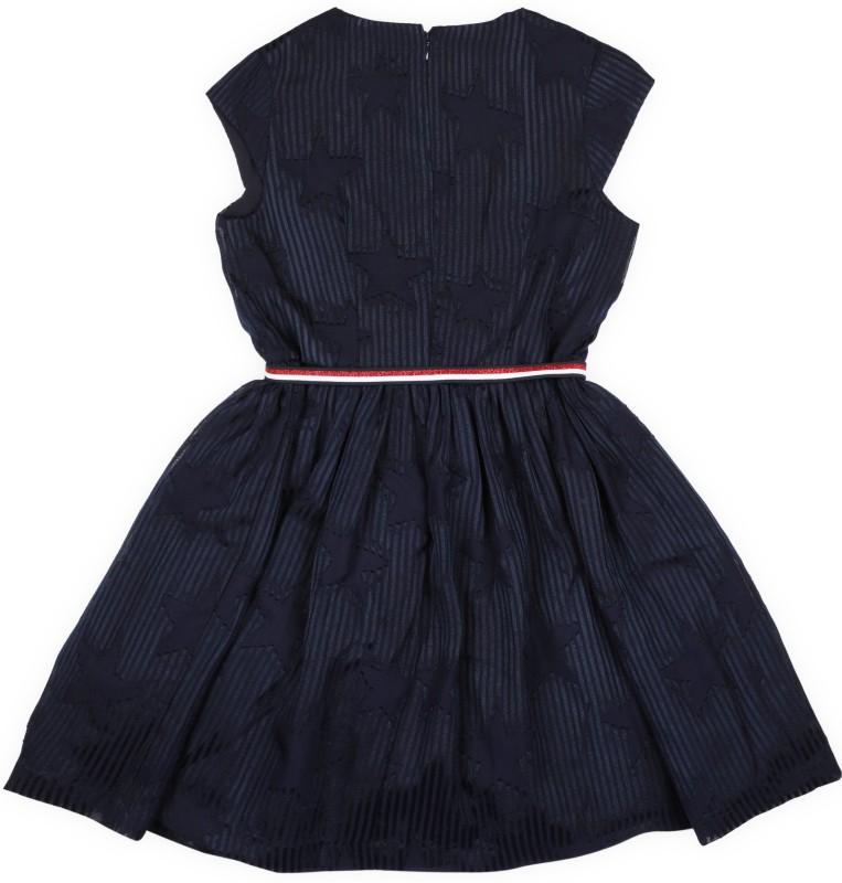 Tommy Hilfiger Girls Midi/Knee Length Casual Dress(Blue, Cap Sleeve)