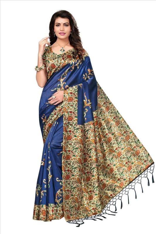 Active Printed Hand Batik Art Silk Saree(Blue)