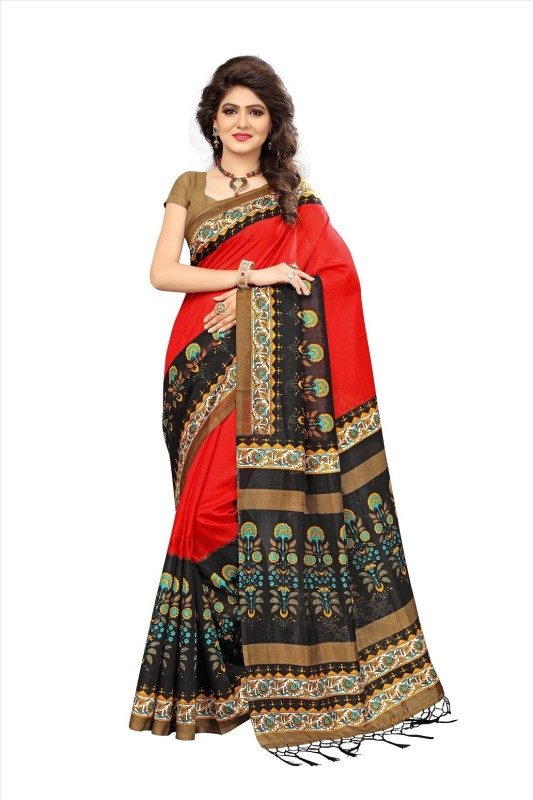 Active Printed Mysore Art Silk Saree(Black, Red)